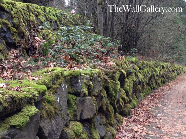 Close up of the Moss Rock Wall