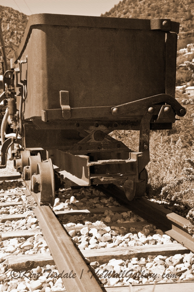 Mining Cart Sepia Tone with Texture