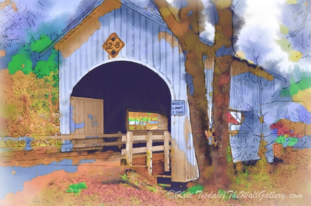 Covered Bridge In Watercolor""