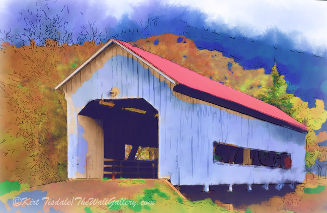 """Covered Bridge With Red Roof"""