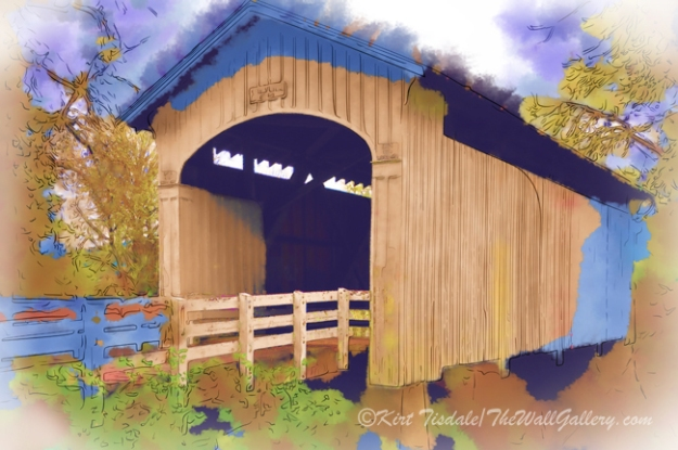 """Stewart Bridge In Watercolor"""