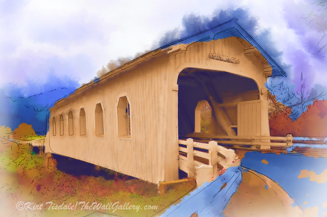 """Grave Creek Covered Bridge In Watercolor"""