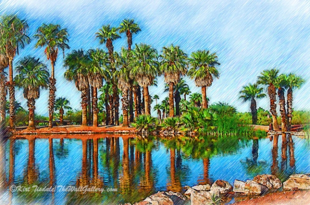 Palm Reflections Sketched
