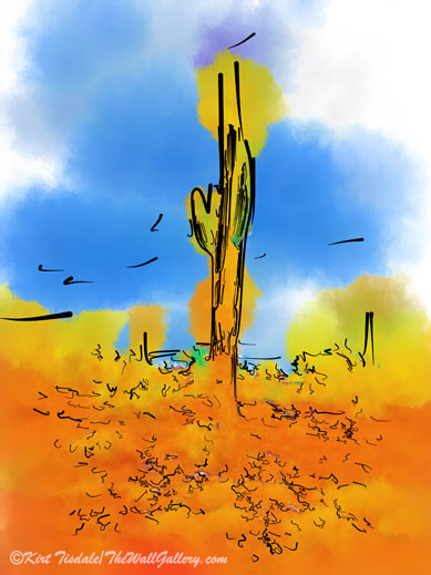 Lone Saguaro Cactus