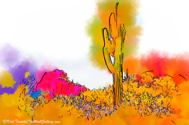 Desert Saguaro In Subtle Abstract