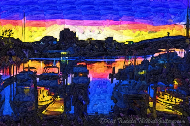 The Harbor At Dusk - was created using a fauvism (Fauvism: a style of painting with vivid expressionistic and non-naturalistic use of color that flourished in Paris from 1905) technique of a harbor at dusk. This technique uses abstract shapes and variations of colors to create a unique look. The setting is Victoria Harbour in British Columbia. The fishing boats are docked for the night, just as dusk settles in.