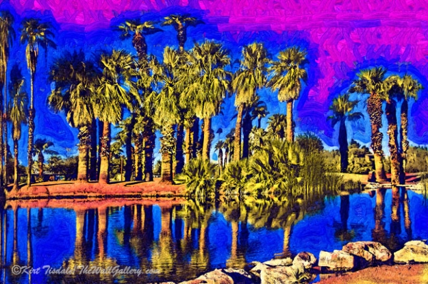 Papago Palms - a wall art print where I used a fauvism oil technique creating this scene. This technique uses bold brush strokes and bright surreal colors. This particular wall art print depicts a palm trees reflected in a pond. The setting is Papago Park in Phoenix, Arizona, Papago park is located next to the zoo and the botanical gardens. In the middle of the park is two large ponds. The stillness of the water allows for the row of palm trees to be reflected in the water creating an added dimension to the scene. When you are considering buying an art print, the interior design of the room comes into play and the look you are going for with any given print comes into the decision process. This particular style of wall art print works well a contemporary décor. The deciding factor will be the framing and matting style, which can dictate what décor the final piece will look good in versus just the style of the art print by itself.