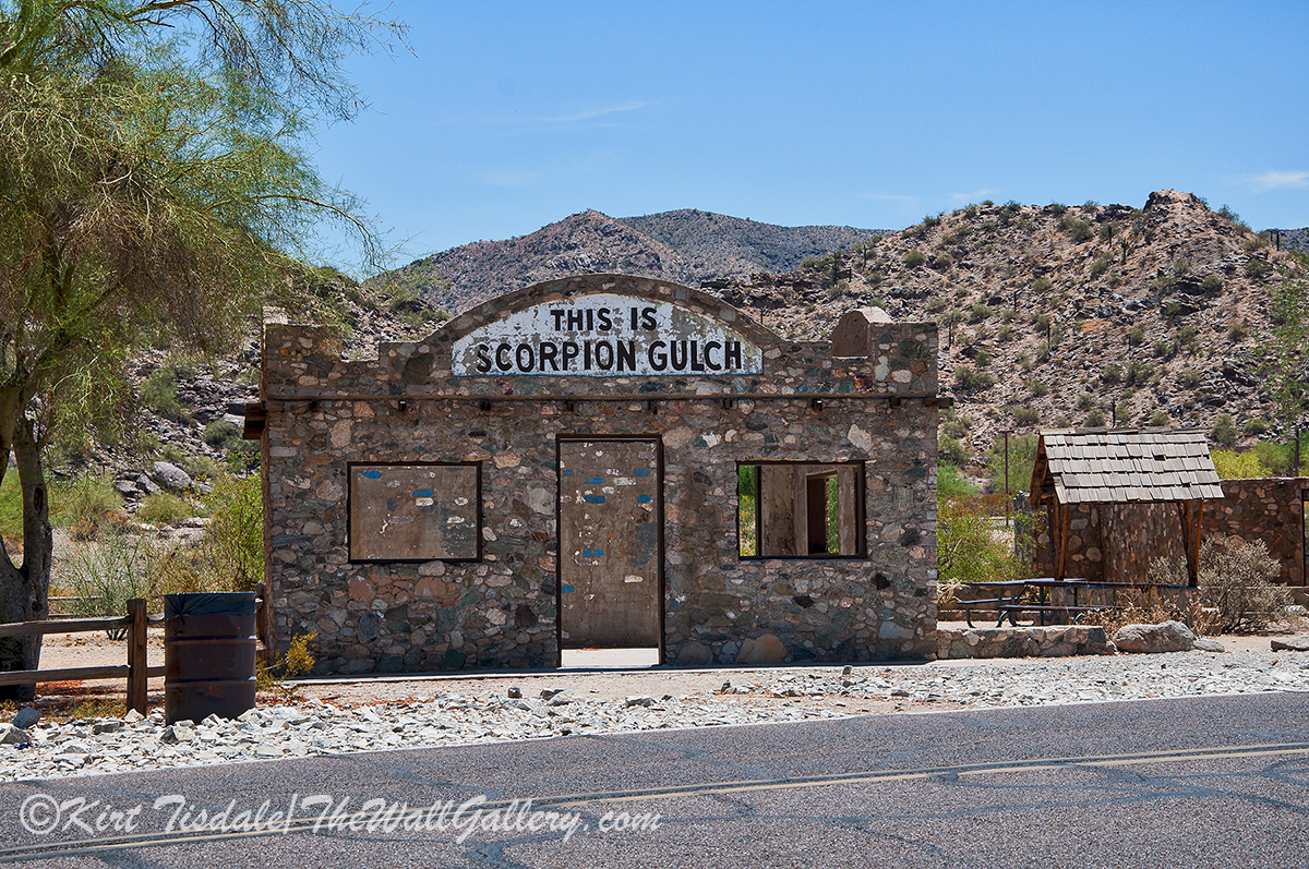 Scorpion Gulch Store built in 1936 at the base of South Mountain Park in Phoenix, Arizona. The owner also built his residence which is located to the right of the store. The property was listed in the Historical Preservation Registery in 1990.