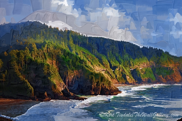 Coastal Bluff: a wall art print where I used an impasto oil technique creating this scene. This technique uses bold brush strokes and bright colors creating a traditional oil painting look. This particular wall art print depicts the view looking up the coastline of bluffs overlooking the Pacific Ocean. The setting is the rugged Oregon coastline, which is known for dramatic scenery of tall tree covered bluffs and the beautiful Pacific Ocean for as far as the eye can see. When you are considering buying an art print, the interior design of the room comes into play and the look you are going for with any given print comes into the decision process. This particular style of wall art print works best in a traditional décor. However, an influencing factor is the framing and matting style, which can dictate what décor the final piece will look good in versus just the style of the art print by itself.